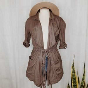 • ABOUT A GIRL • brown open duster cardigan
